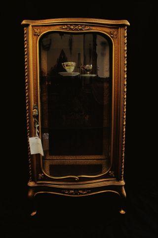 Gorgeous French Louis Style Vitrine Showcase Display Cabinet,  Mirror Back & Base photo