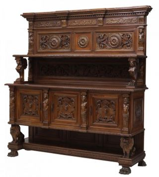 Italian Renaissance Style Heavily Carved Sideboard Antique Early 1900s photo