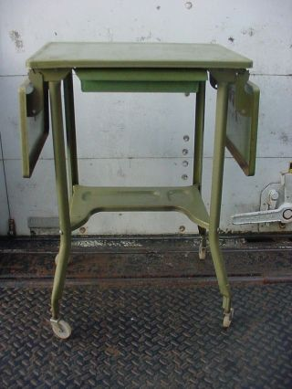 Vintage Mid Century Modern Green Typewriter Table Metal Desk Rolling Industrial photo
