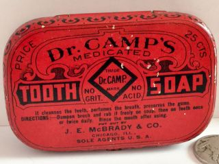 C.  1900s Dr.  Camp ' S Medicated Tooth Soap Tin Dental Advertising Antique Vintage photo