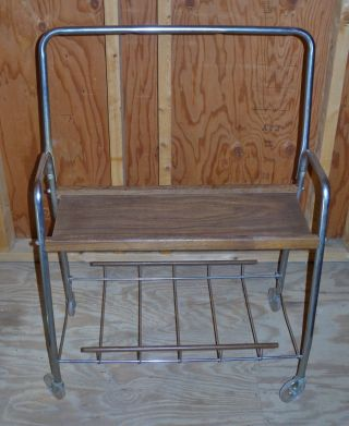 Vintage Mid Century Tv Television Cart Wood Chrome Clear Plastic Wheels photo