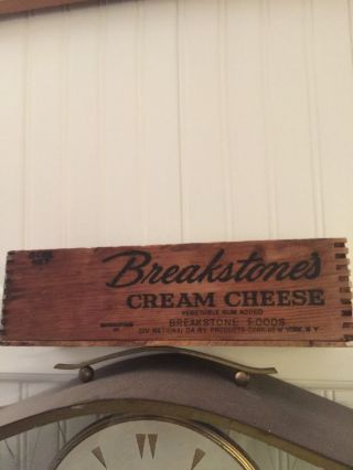Vintage Wooden Cheese Box,  Breakstones Cream Cheese Dovetailed photo