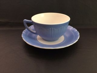 Rare Macbeth - Evans Cremax Bordette Blue Opaque Textured Glass Cup And Saucer photo