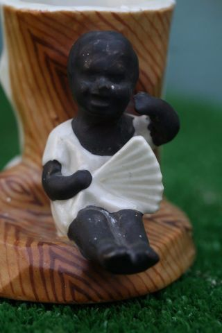 19thc Blackamoor Child Figure Holding Fan & Match Holder To Rear C1880s photo
