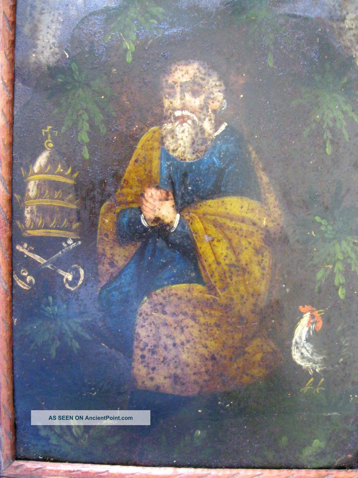 Antique Retablo On Tin Image Of Saint Peter With Vintage Frame Latin American photo
