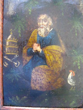 Antique Retablo On Tin Image Of Saint Peter With Vintage Frame photo