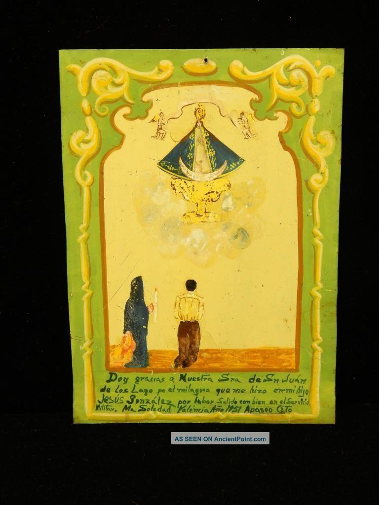 1951 Tin Mexican Religious Ex Voto Retablo Mexico Catholic Christian Folk Art Latin American photo