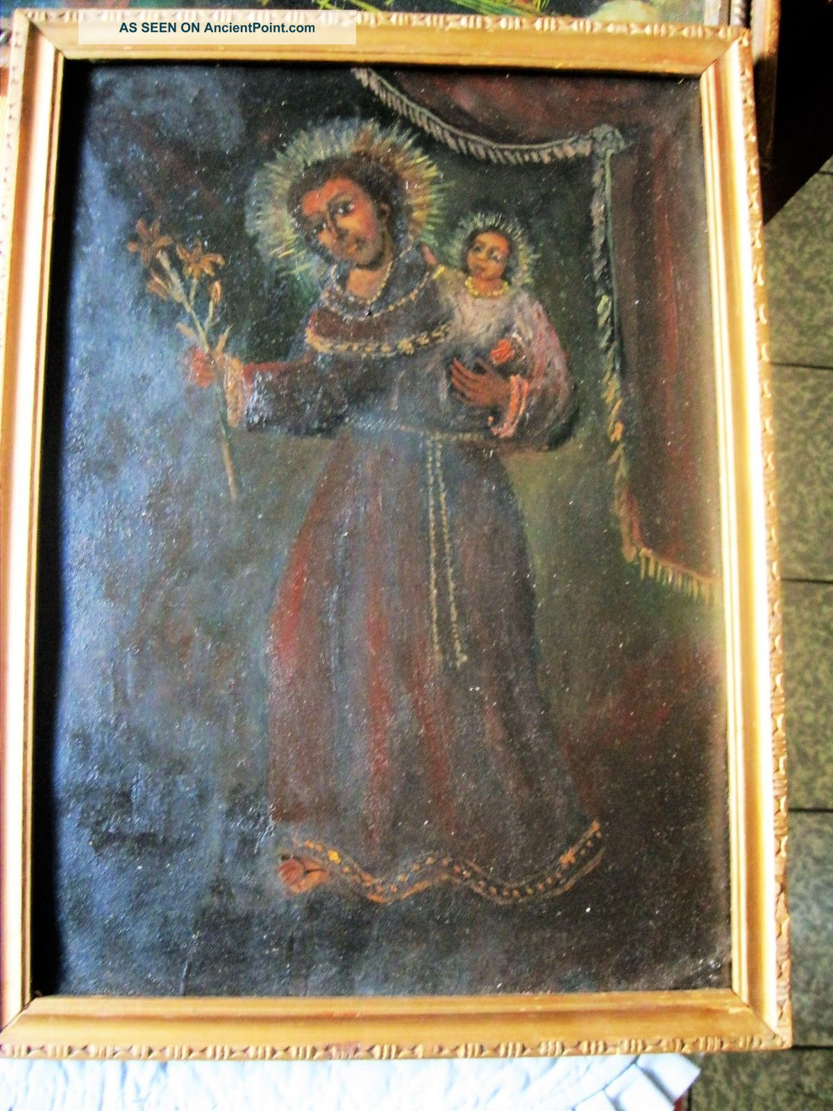 Antique Retablo On Tin With Saint Anthony With Christ Child,  Wood Frame Latin American photo