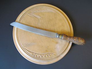Antique Primitive Round Wood Bread Board And Knife photo
