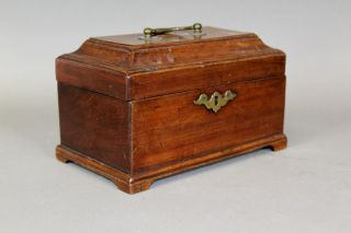Great 18th C Mahogany Three Compartment Tea Caddy With Feet And Brasses photo