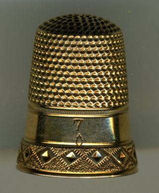 Two Antique Gold Thimbles,  Burr Mark photo