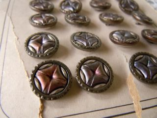 24 Antique Paris Metal Sewing Buttons Carded Mirror Back Stamped Metal Buttons photo