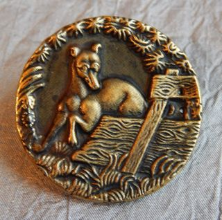 Antique Vintage Picture Button Whippet Dog 547 - A photo