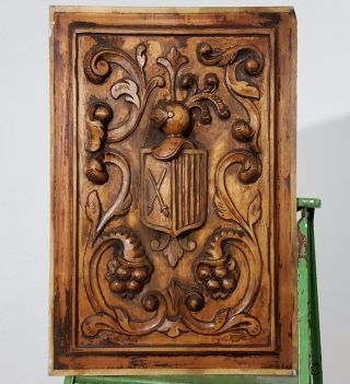 Coat Of Arms Panel Solid Antique Vintage Hand Carved Wood Salvaged Carving 2 photo