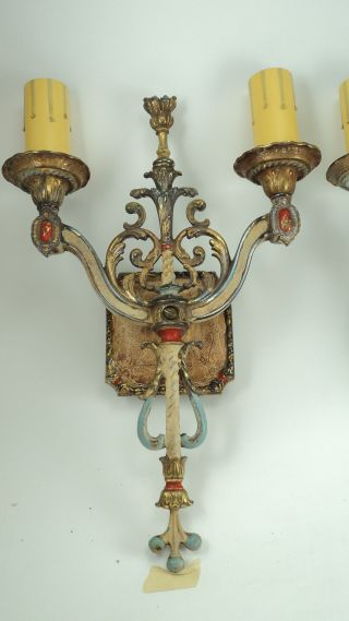 Pair Highly Decorated Solid Brass Double Light Sconces Wall Hugger photo