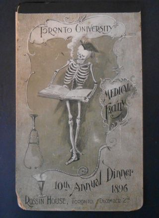 1896 Toronto University Medical Faculty 10th Annual Dinner Program Macabre photo