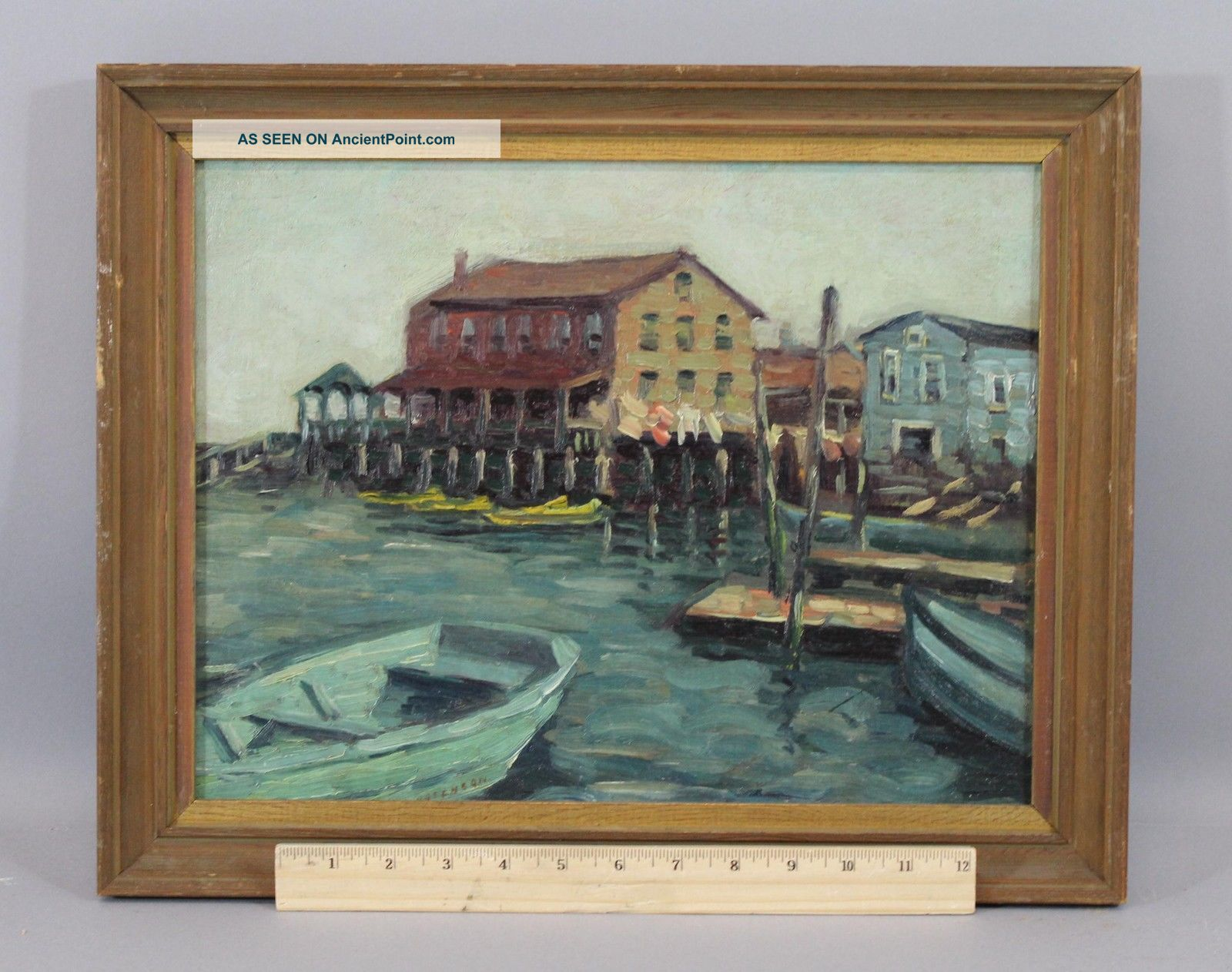 Antique,  Olga Rosenson,  American Maritime Boat Harbor Oil Painting Other Maritime Antiques photo