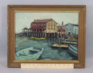 Antique,  Olga Rosenson,  American Maritime Boat Harbor Oil Painting photo