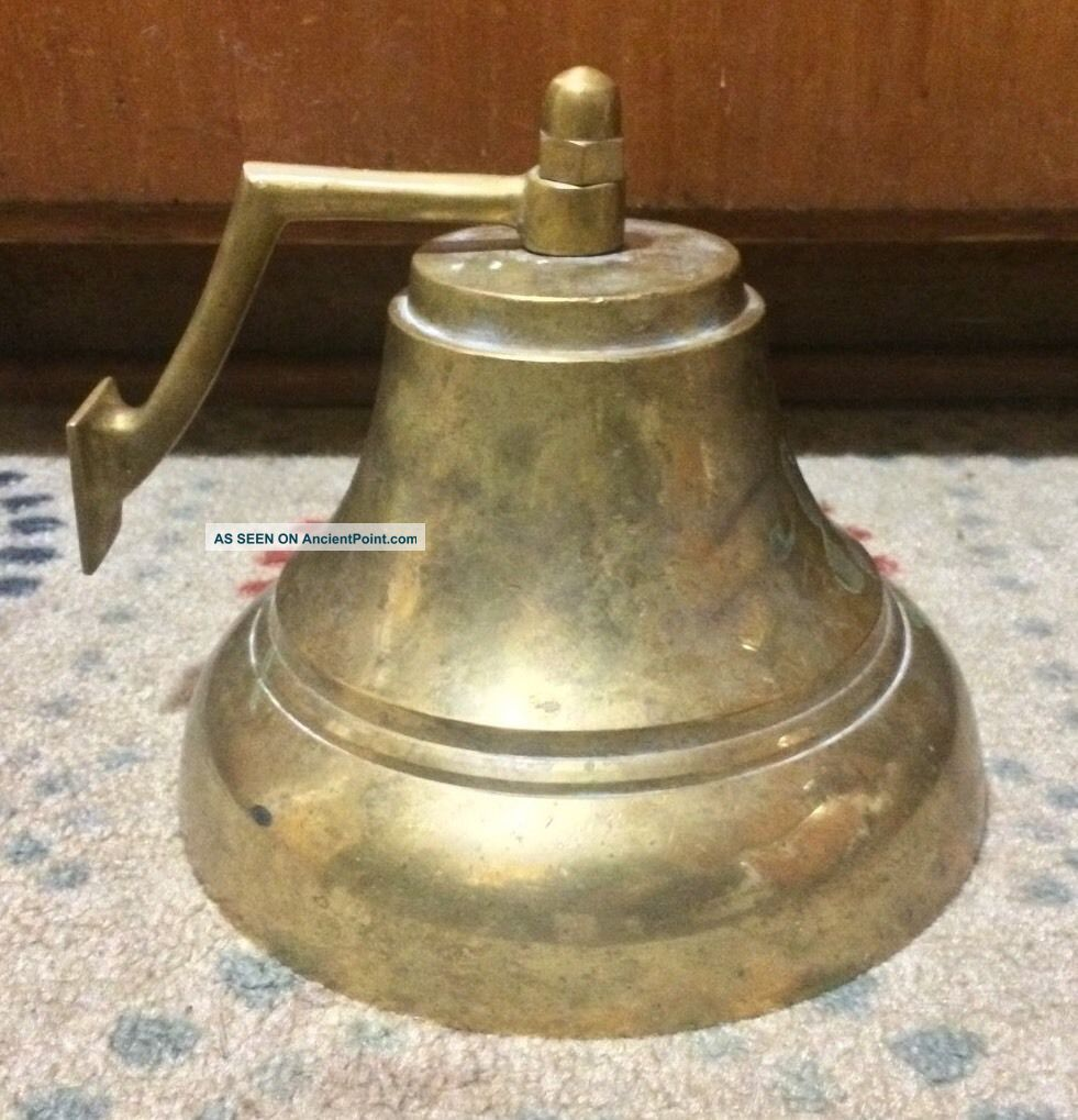 Vtg Nautical Maritime Cast Brass Bell Boat School Ship Fire Clapper Rope Bracket Bells & Whistles photo