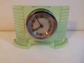 Vintage Art Deco Green Glass Desk Clock photo