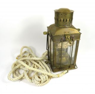 Vintage Viking Brass Nautical Maritime Ship Hanging Oil Lantern With Rope photo