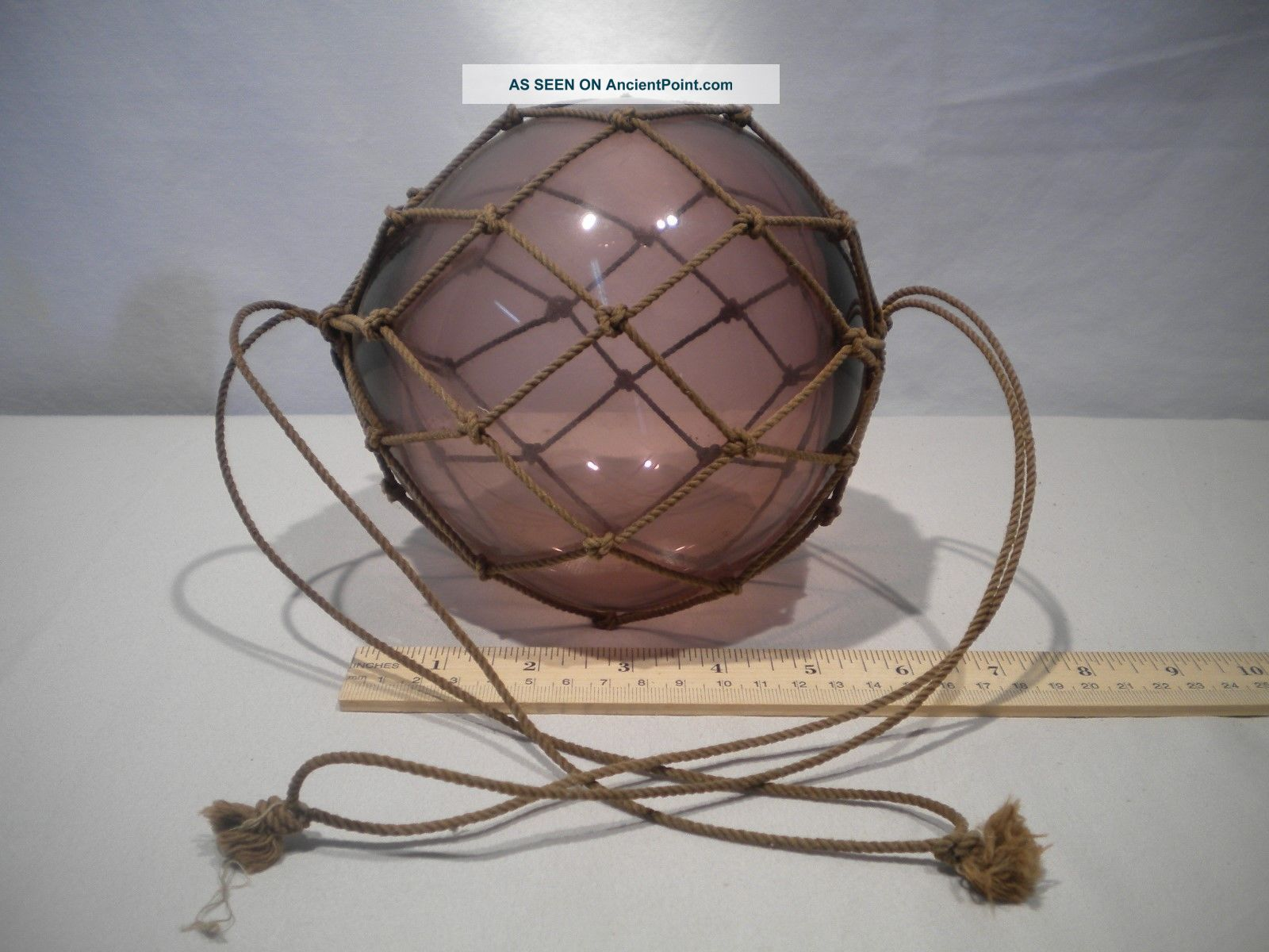Rare Six Inch Amethyst Glass Float Ball Fishing Nets & Floats photo
