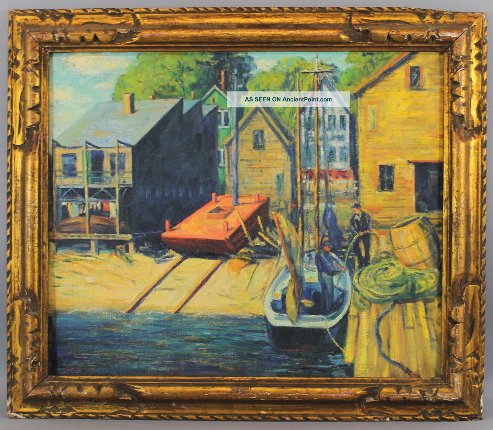 Antique Harry Shokler Gloucester Harbor Fishing Boat Oil Painting & Carved Frame Other Maritime Antiques photo
