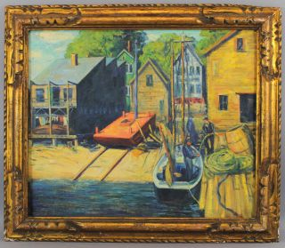 Antique Harry Shokler Gloucester Harbor Fishing Boat Oil Painting & Carved Frame photo