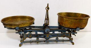 Antique 2k Counter Balance Scale - Cast Iron & Brass - Circa Late 1800 ' S photo