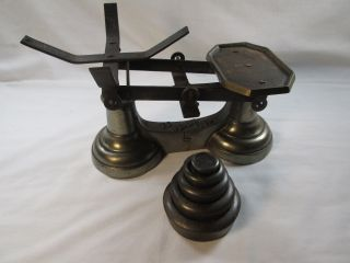 Vintage Counter Balance Scale With Weights C - 1920 ' S photo