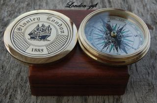Poem Compass With Robert Frost Sundial Compass Vintage Nautical Compass W/case photo