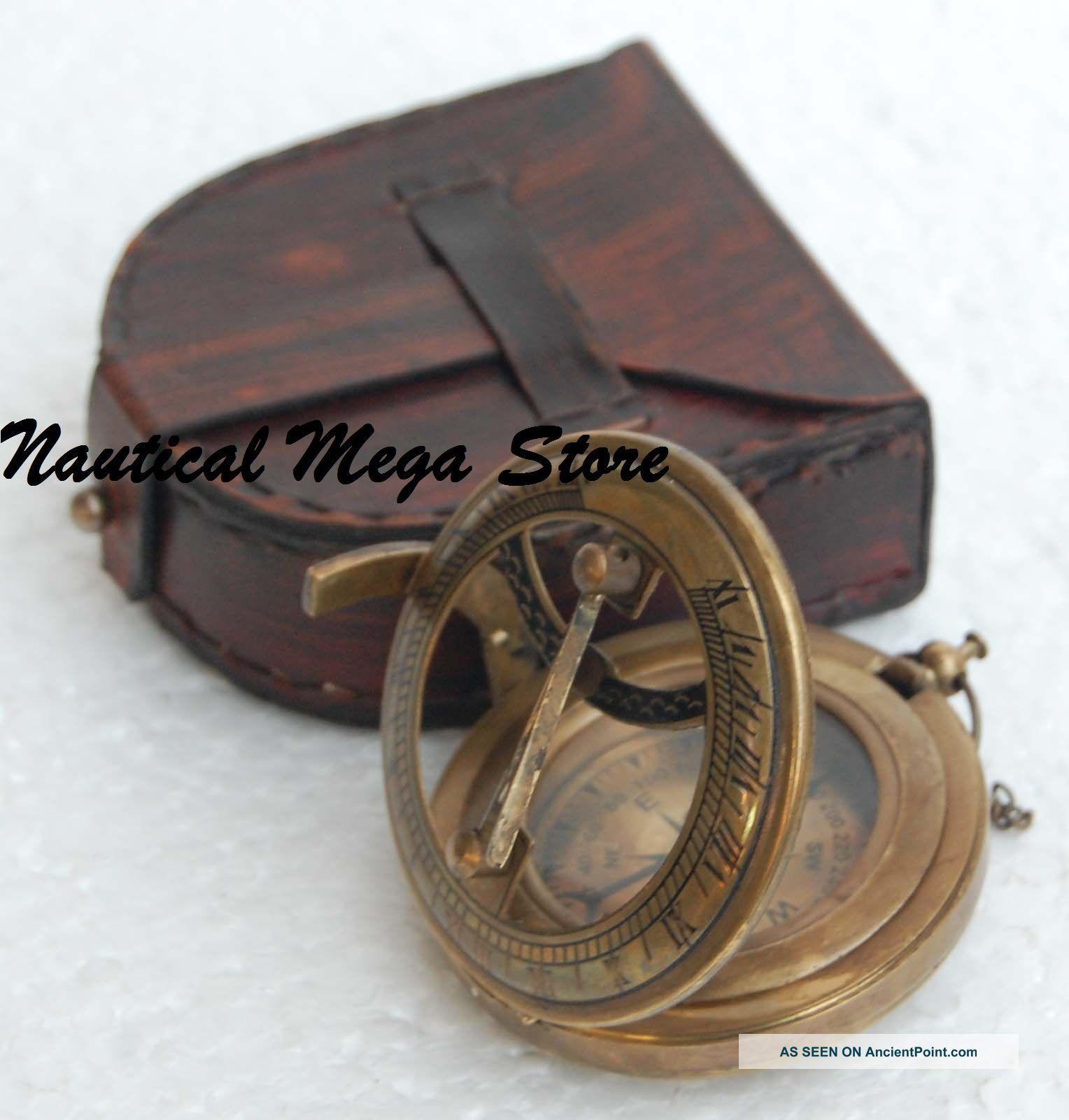 Antique Steampunk Nautical Brass Compass & Sundial Push Button Type Sundial Compasses photo
