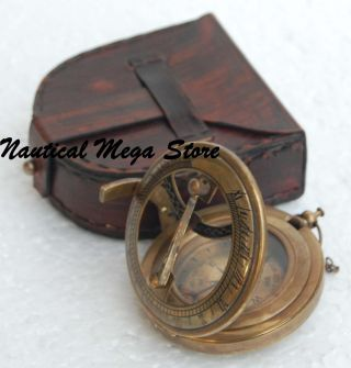 Antique Steampunk Nautical Brass Compass & Sundial Push Button Type Sundial photo
