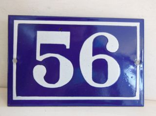 Old French House Number Sign Door Gate Plate Plaque Enamel Steel Metal 56 Blue photo