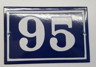 Antique House Number Sign Door Gate French Plate Plaque Enamel Steel Metal 95 photo
