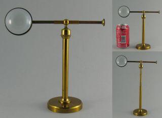 Antique 19c Brass Microscope Bench Bullseye Lens Condenser Magnifier Ball Joint photo