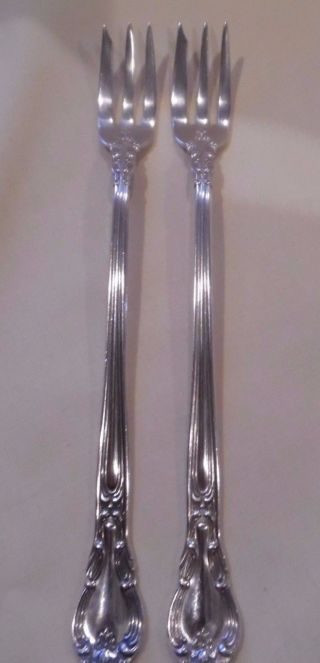 2 Gorham Sterling Silver Cocktail Or Pickle Forks In Chantilly Pattern No Mono photo