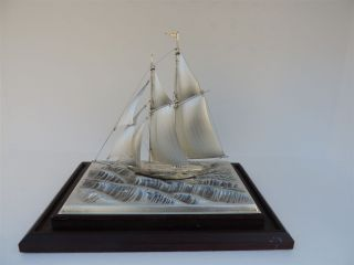 Materly H - Crafted 2 Masted Solid Sterling Silver 985 Sail Boat Yacht Ship Japan photo