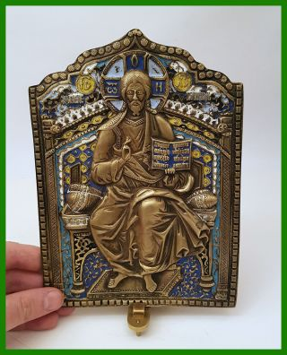 Large Russian Orthodox Bronze Icon The Savior Almighty.  Enameled photo