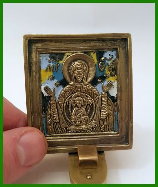 Russia Orthodox Bronze Icon The Virgin Of Sign.  Enameled photo