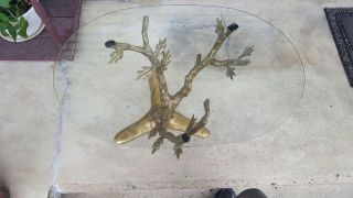 Vintage 70 ' S Brass Sculptural Tree Trunk Lamp Table Mid Century Willy Daro Style photo