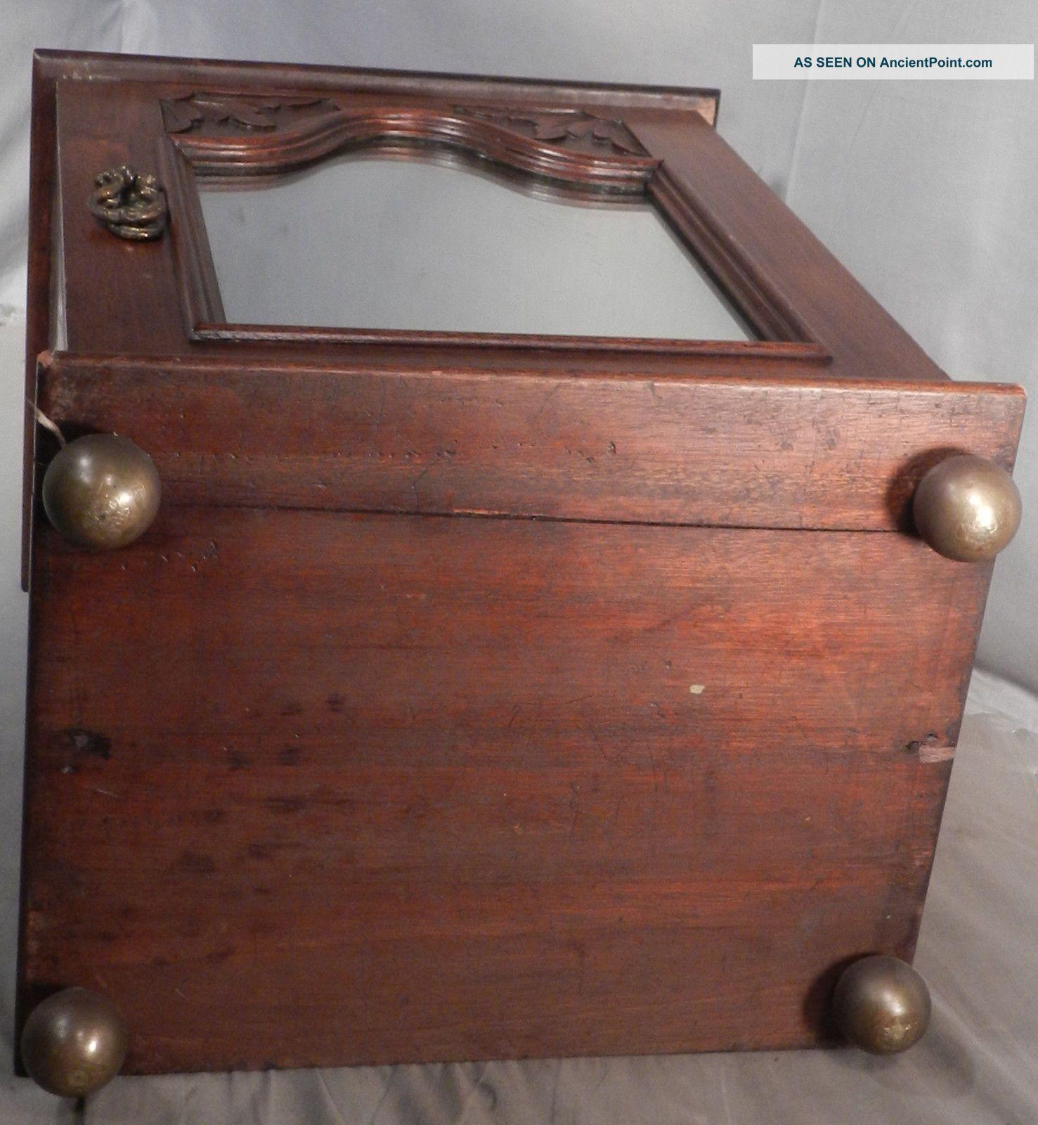 Antique Richly Carved Mirror Edwardian Walnut Gentleman Shaving Cabinet Tabletop