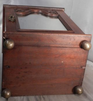 Antique Richly Carved Mirror Edwardian Walnut Gentleman Shaving Cabinet Tabletop photo