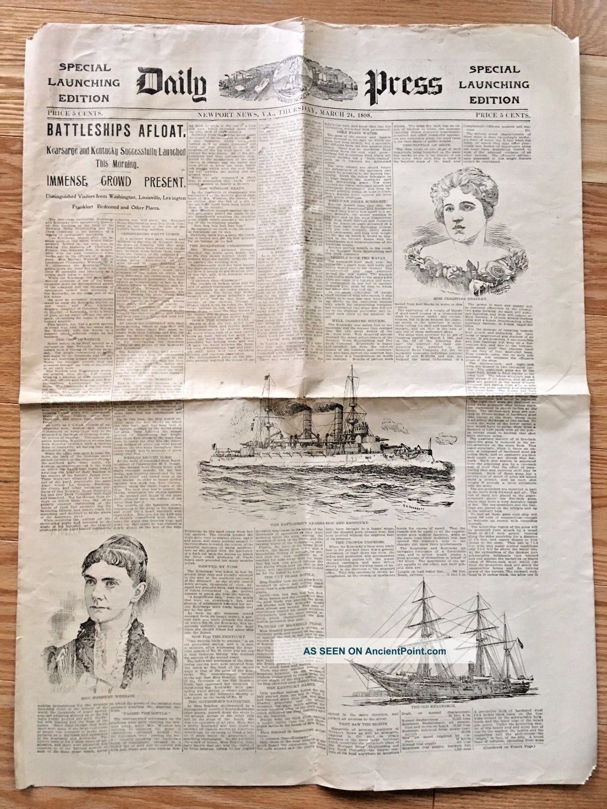 Newport News Va 1898 Newspaper Launching Uss Kearsarge Ship Yard Special Ed. Other Maritime Antiques photo