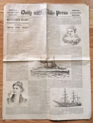 Newport News Va 1898 Newspaper Launching Uss Kearsarge Ship Yard Special Ed. photo