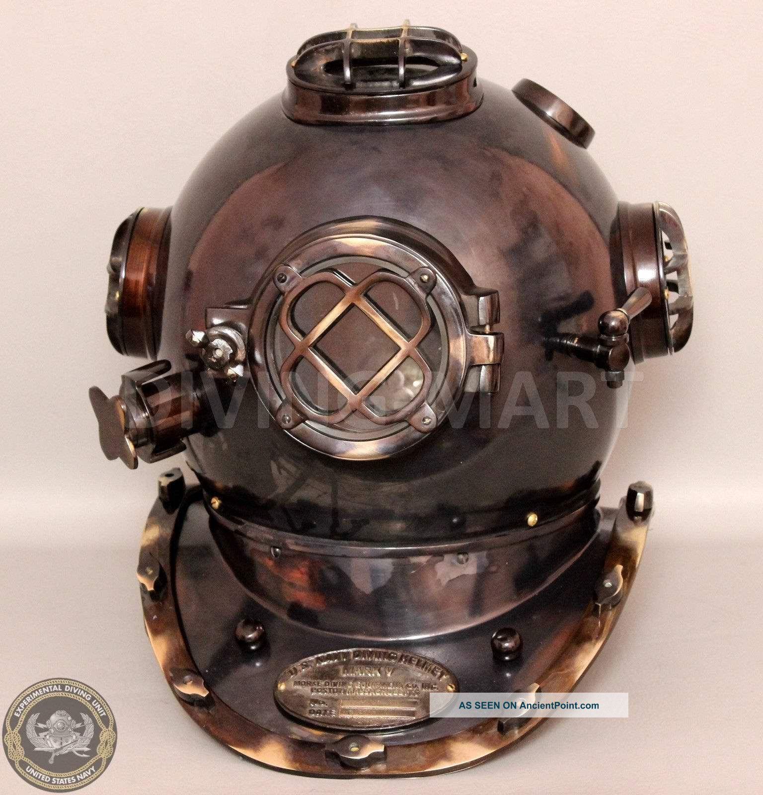 Vintage U.  S Navy Mark V Divers Diving Helmet Solid Copper & Brass Antique Diving Helmets photo
