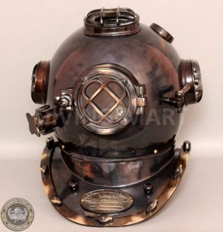 Vintage U.  S Navy Mark V Divers Diving Helmet Solid Copper & Brass Antique photo
