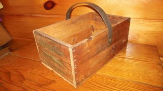 Vintage Wooden Primitive Tool Box / Carry Tote / Old Farm Tool photo