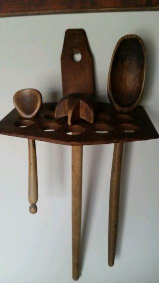 Primitive Antique Spoon Rack Holder From Pa Amish Farm.  Aafa photo