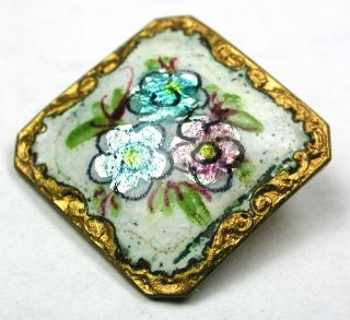 Antique Square Enamel Button Three Flowers Over Foil W/ Fancy Brass Border 7/8